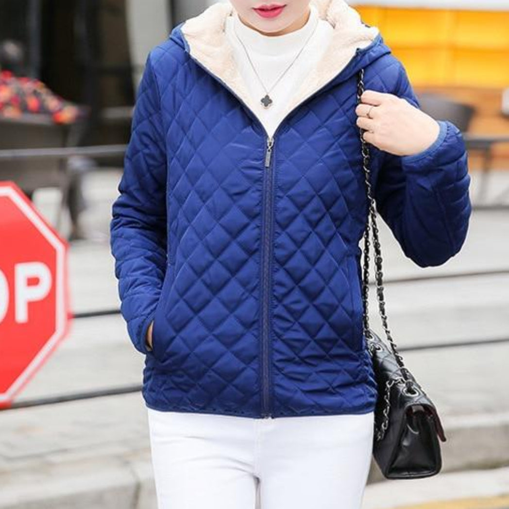 Women's Blue Bomber Jacket Coat With Hood and Soft Inside Bomber Jacket