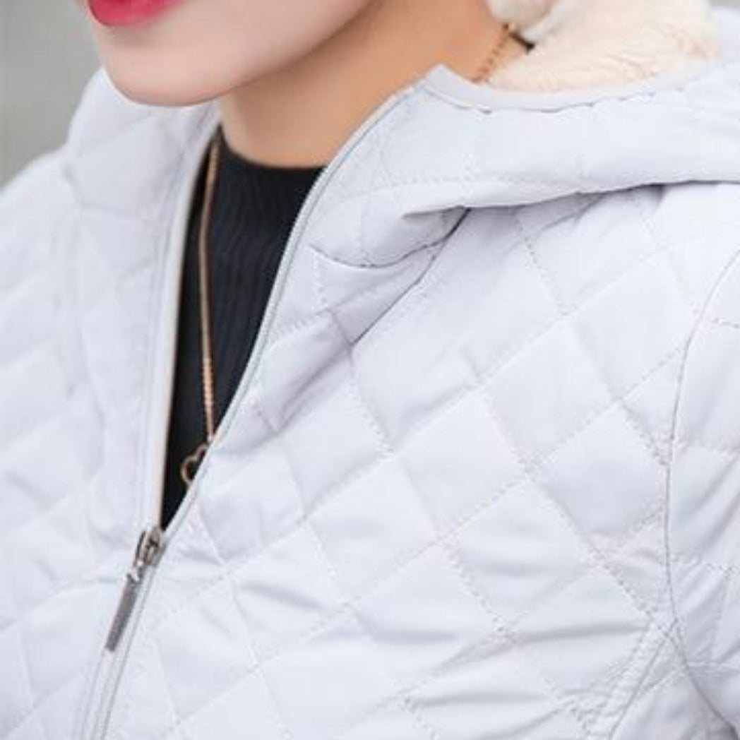 Women's Bomber Jacket Gray Coat With Soft Inside and Hood