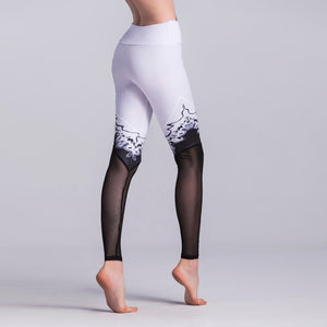 White With Black Mesh | High Waist Leggings