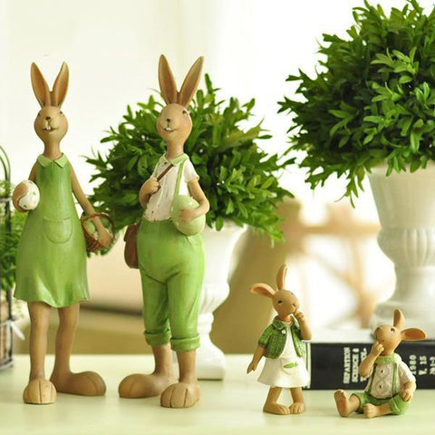 1 Piece Home Green Cute Rabbit Family Christmas Friends Girl Resin Gift for Child Doll Micro Landscape Anime Figures