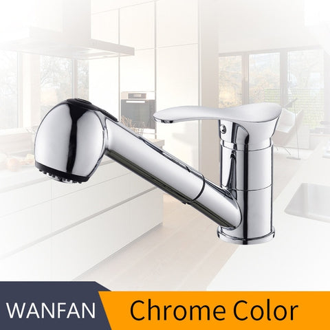 360 Degree Swivel Pull Out Kitchen Sink Faucet Black Basin Crane Mixer Brass Tap