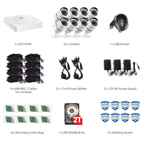 8CH 5.0MP HD Security Cameras System 2TB Hard Drive, 8 x Super 5.0 Megapixel Weatherproof Outdoor/Indoor Day Night Surveillance Bullet Cameras, 8 Channel 5MP (2.5 X 1080P) CCTV DVR Recorder