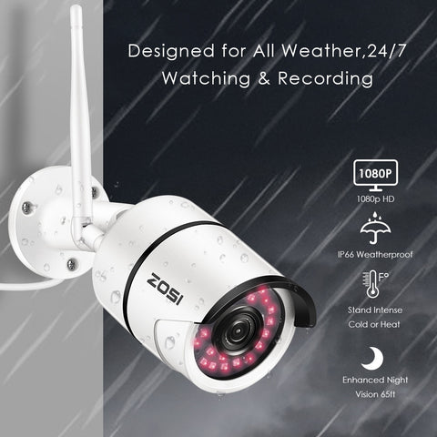 1080P HD Wireless Security Camera Indoor Outdoor Waterproof WiFi Smart Home Surveillance Bullet IP Camera 100ft Night Vision,Motion Detection, Remote View(Support Max 256GB SD Card No Included)