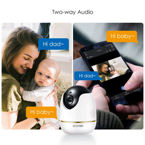 1080p WiFi Camera, Indoor Security Wireless IP Camera, Two-Way Talk, Night Vision for Home, Office, Baby, Pet Cam with MicroSD & Cloud Storage