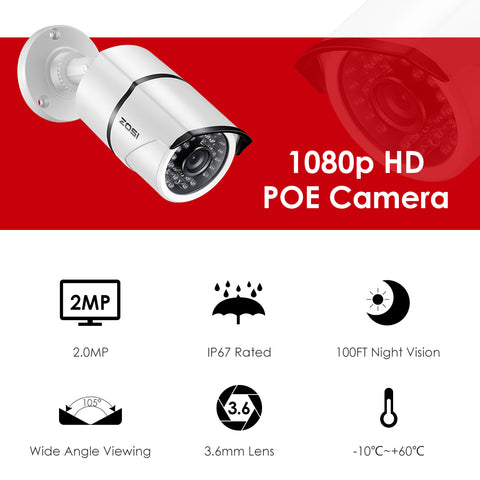 8CH NVR 1080P IP Network POE Video Record IR Outdoor CCTV Security Camera System Home video Surveillance kit