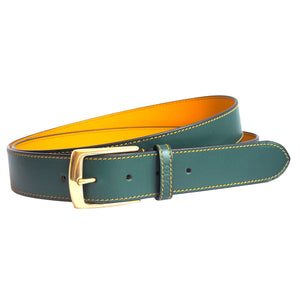 Forest Green Leather Belt by Opari