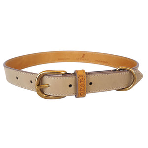 Taupe Leather Dog Collar