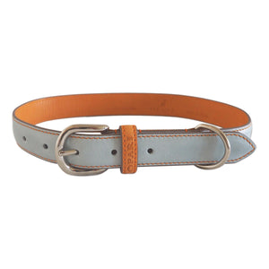 Sky Blue Leather Dog Collar