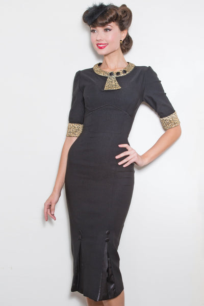 30s Bombshell Dress with Leopard Gold Glitter Trim