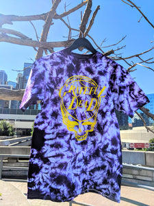 Yellow Stealie on Purple Tie Dye