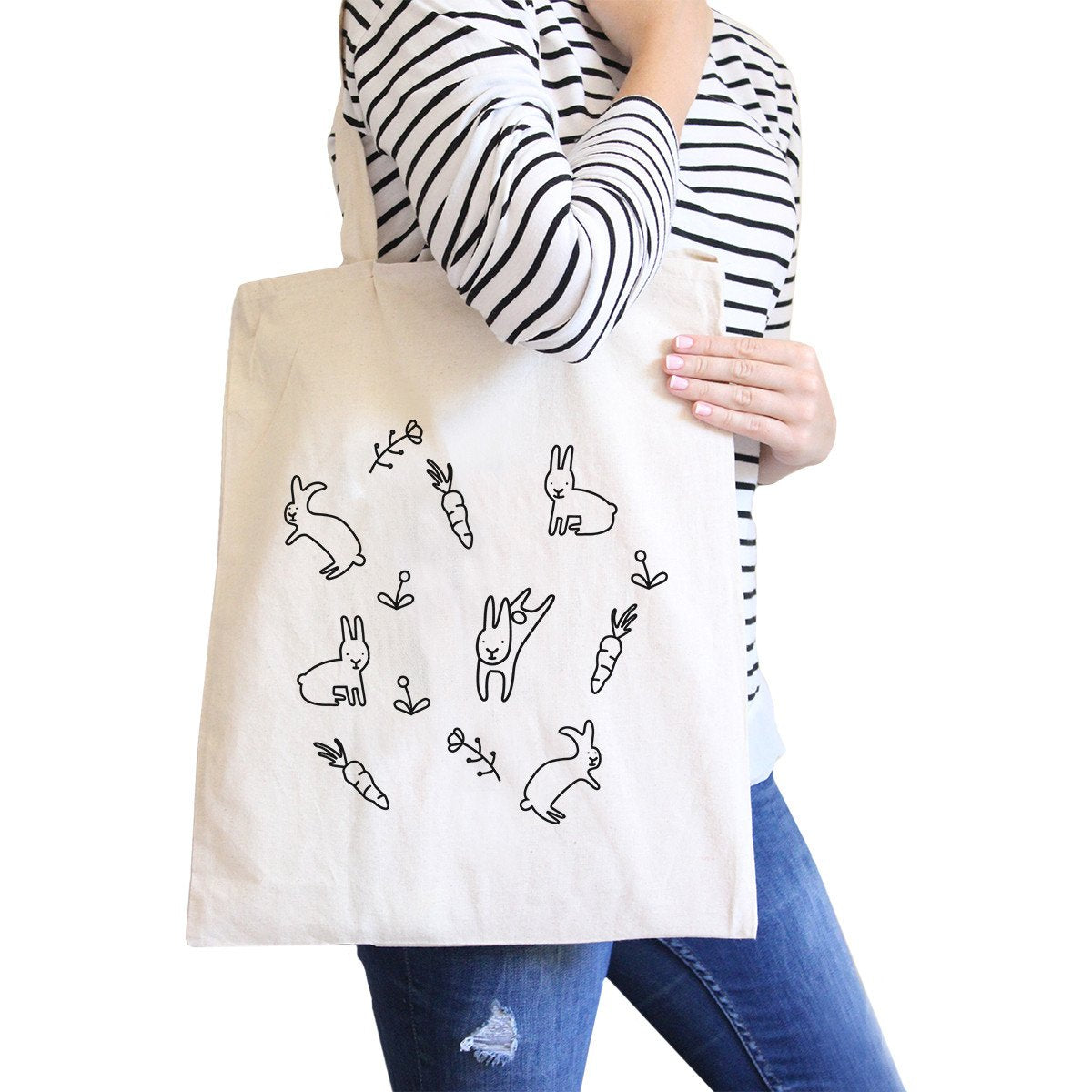 Rabbit Pattern Natural Canvas Bags Cute Bunny Ester Gift
