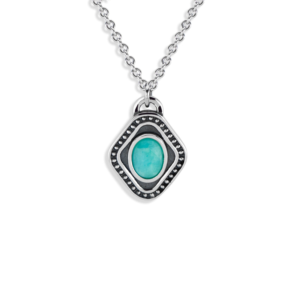 Diamond Shaped Pendant with Oval Cabochon