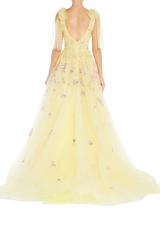 Spring Yellow V Neck Ball Gown ML