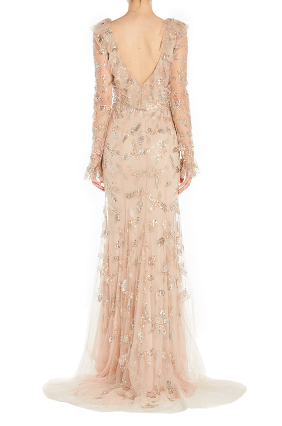 Gold V Neck Gown Monique Lhuillier
