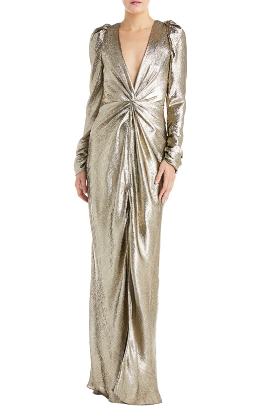 Long sleeve gold gown