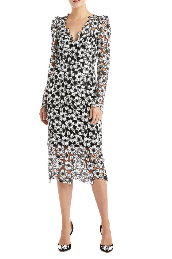 Floral Lace Dress Monique Lhuillier