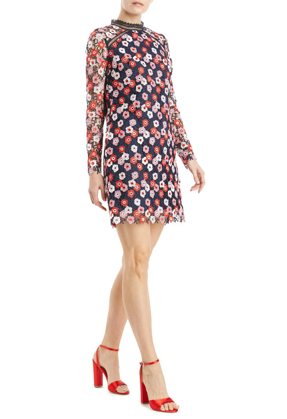 navy red and pink shift dress