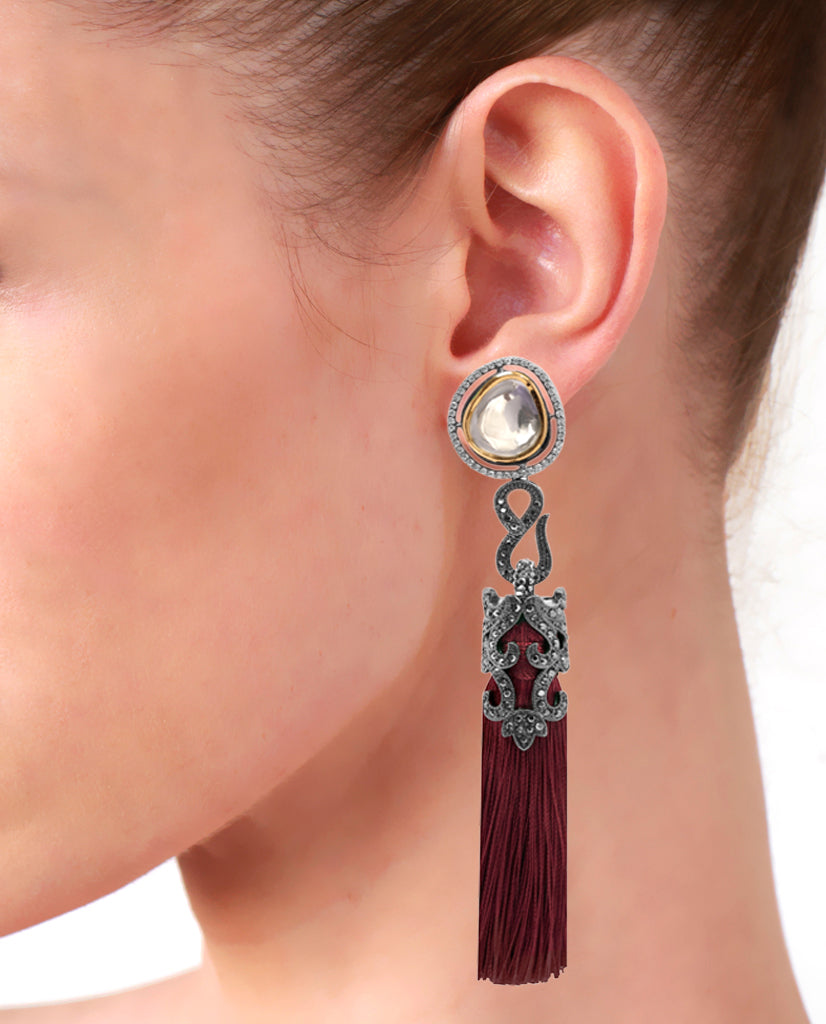 Red Tasseled Dangling Earrings in 18K Gold and Hematite with Glass Kundan and Swarovski Crystals