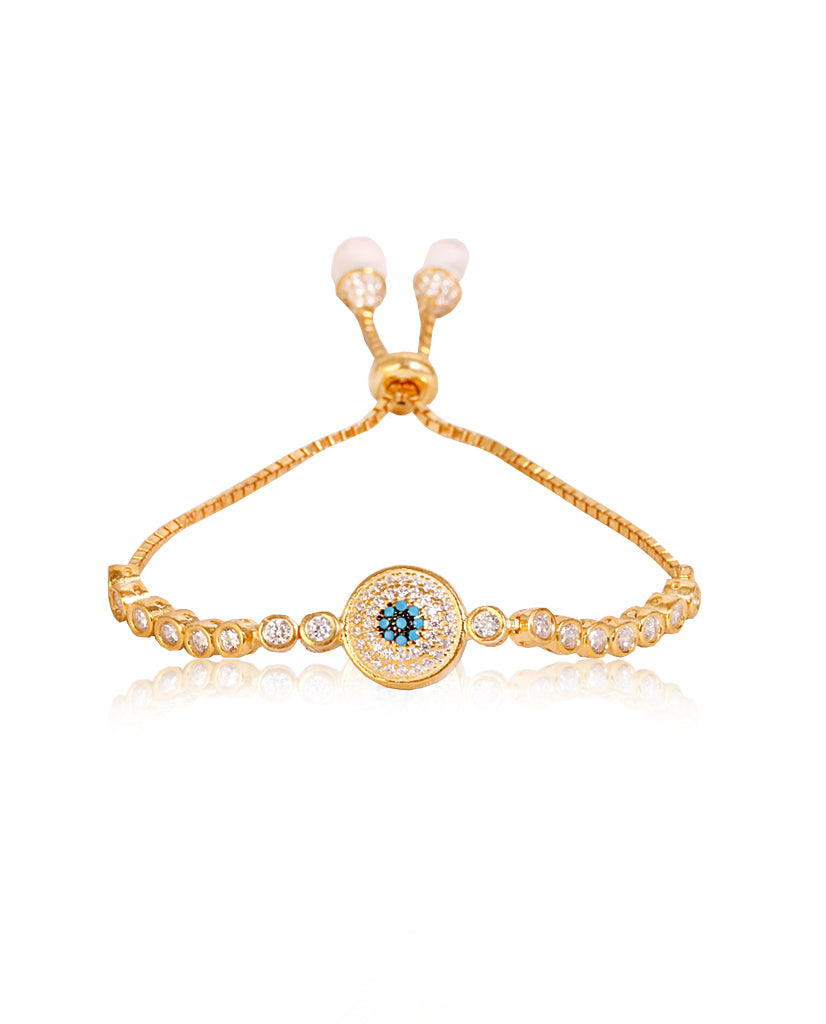 Evil Eye Tennis Bracelet in Gold with Swarovski Crystals