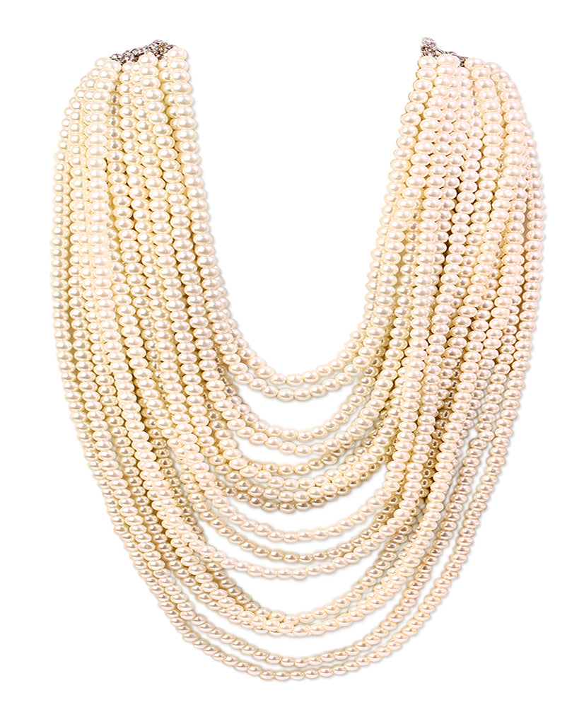 Gold finish multiple chain necklace