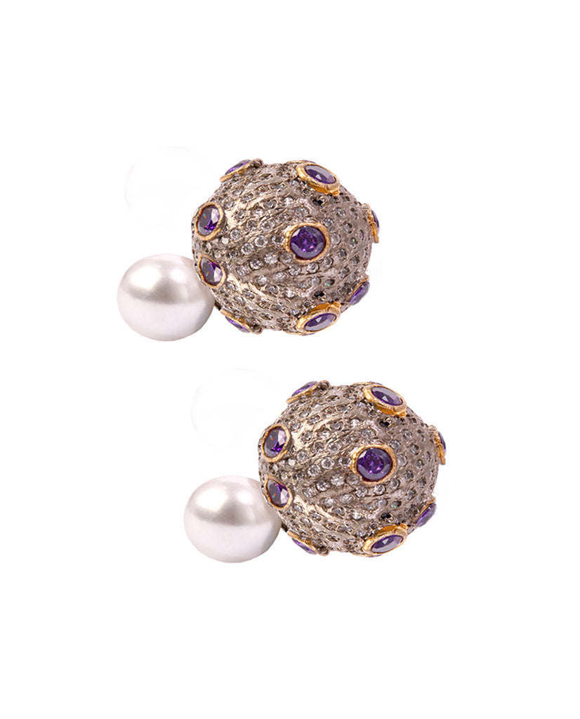 Gold plated amethyst stone and crystals double sided earrings
