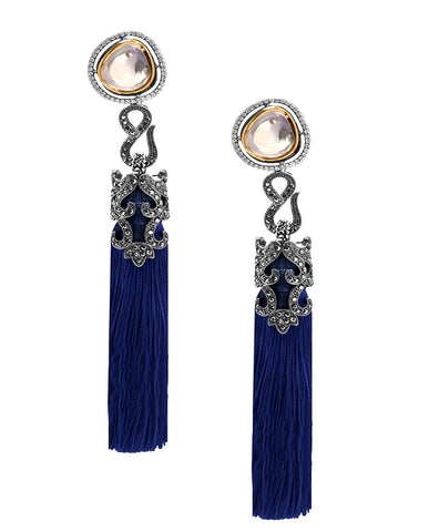 Blue Tasseled Dangling Earrings in 18K Gold and Hematite with Glass Kundan and Swarovski Crystals