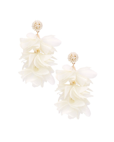 White Flower Bouquet Cluster Earrings in 18K Gold