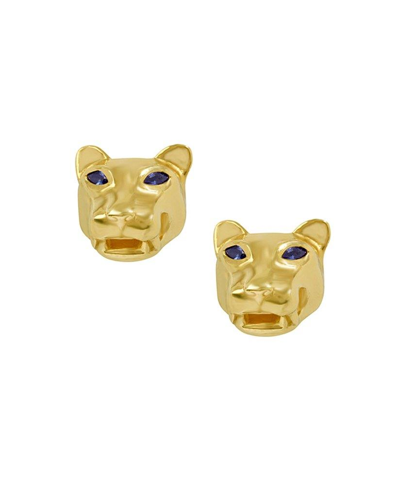 18K Gold Panther Face Stud Earrings
