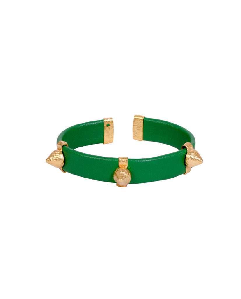 Emerald and Gold Leather Spike Bracelet with Agate Stones