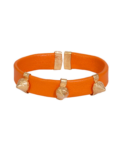 Orange and Gold Leather Spike Bracelet with Agate Stones