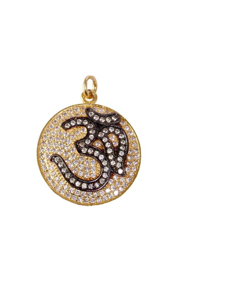 Black and Gold Om Pendant with Swarovski Crystals