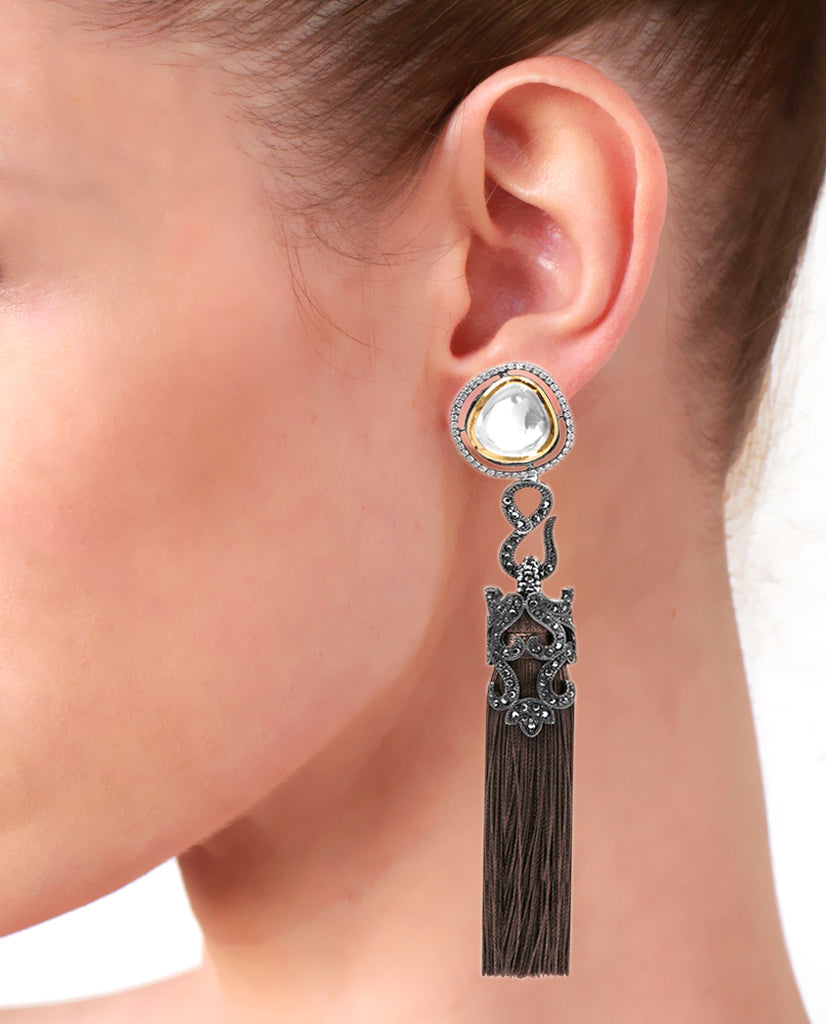 Brown Tasseled Dangling Earrings in 18K Gold and Hematite with Glass Kundan and Swarovski Crystals