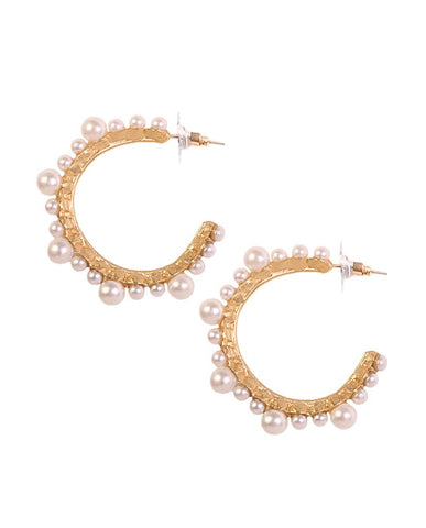 Benti Pearl Hoop Earrings