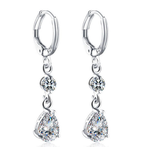 Rhinestoned Faux Crystal Oval Drop Earrings
