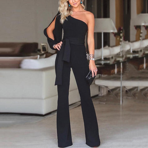 Princegirl Stylish One Shoulder Long Sleeves Jumpsuit
