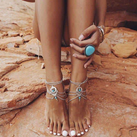 Bohemian Hollow Turquoise Drops Beach Foot Chain