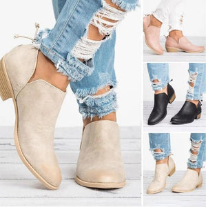 Women Low Heel Round Toe PU Plain Zipper Boots