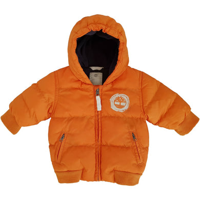 Vêtement outdoor bébé d'occasion - Doudoune bebe TIMBERLAND orange 3 mois