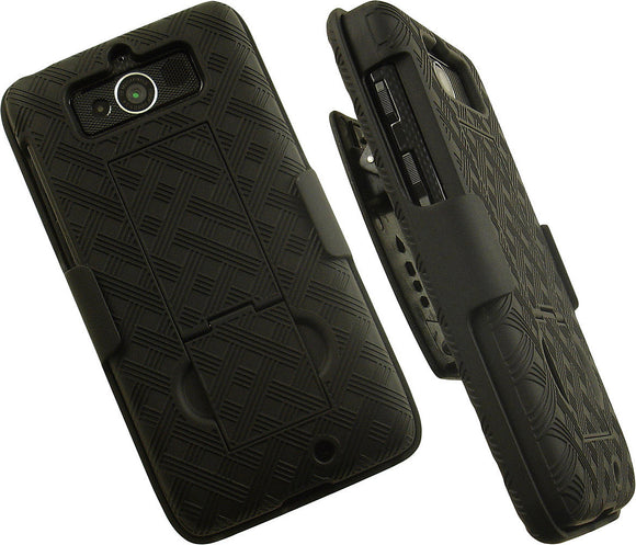 BLACK KICKSTAND CASE + BELT CLIP HOLSTER STAND FOR MOTOROLA DROID MINI XT1030