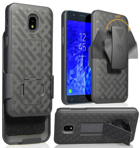 Black Case Cover + Belt Clip Holster for Samsung Galaxy J7 Star/Refine/Aero 2018