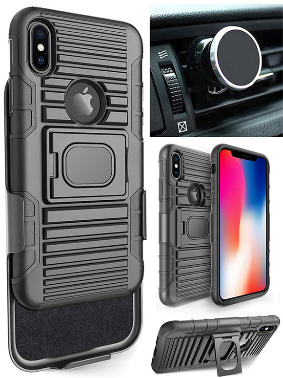 Black Rugged Grip Case + Belt Clip + Magnetic Car Mount for iPhone Xs/X/10/10s