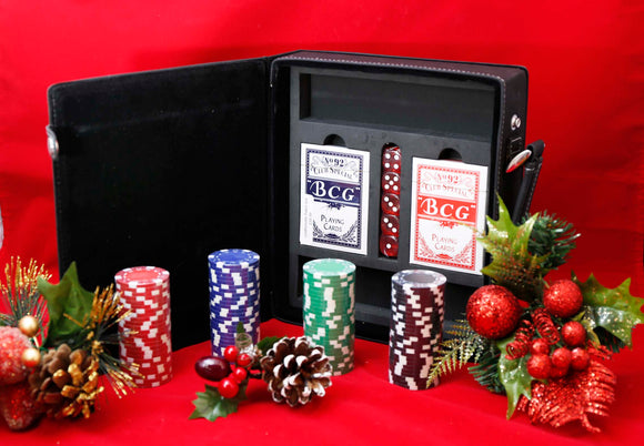 Leatherette 100 chip Poker Set - Lucky Dog Custom Creations