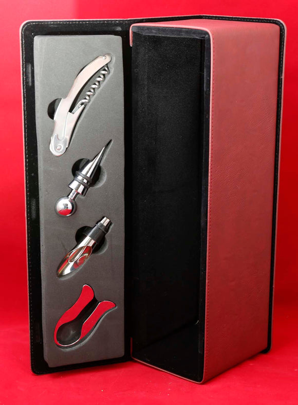 Leatherette Single Wine Box with Tools, Laser Engravable - Lucky Dog Custom Creations