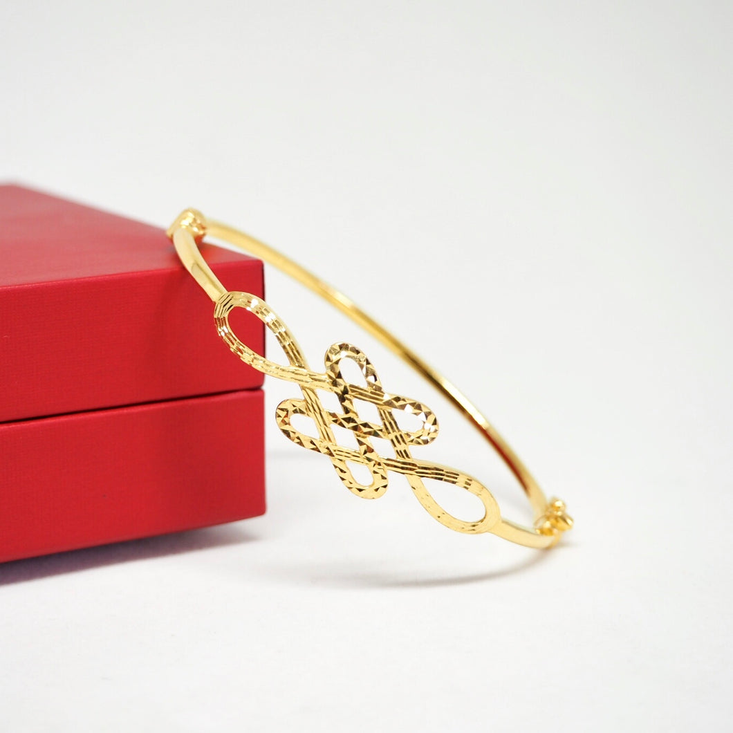 Gold Mystic Knot Thin Bangle