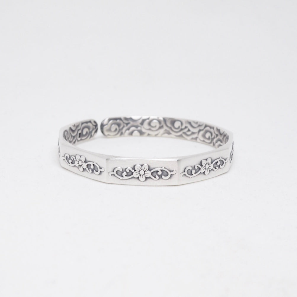 Oxidised Silver Floral Open Octagonal Bangle