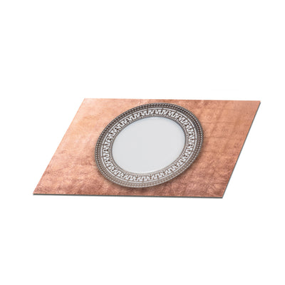 POSH TRADING COMPANY SERVING MAT / GRAND PLACEMAT SILVER LEAF IN ROSE GOLD