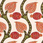 Schumacher Nurata Embroidery Coral Fabric