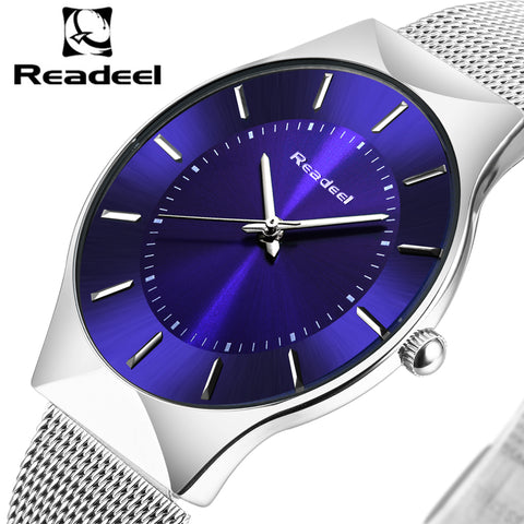 Readeel Mens Top Brand Luxury Watch with Stainless Steel Ultra Thin Band