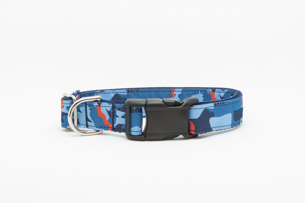 Blue Camo Standard Dog Collar