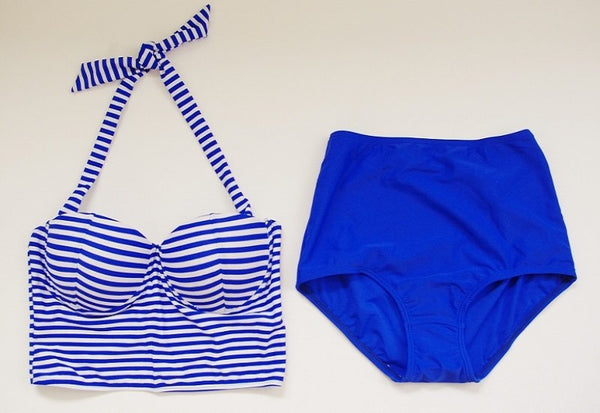 Blue Stripes Swimwear Set, Swimwear - The Happy Beach